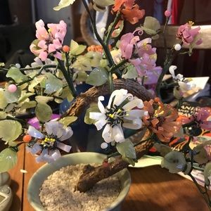 Vintage Jade Cherry Blossom Bonsai Tree